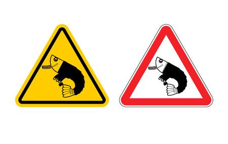 plancton: Señal de peligro de la oficina de plancton atención. Peligros amarilla signo de crustáceos. Camarón en el triángulo rojo. Conjunto de señales de tráfico. empleado de Administrador de precaución