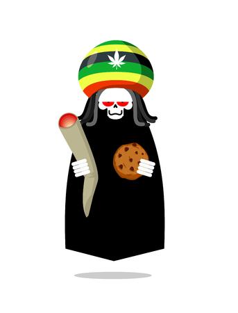 dreadlocks: Rasta death offers cookies and joint or spliff. Rastafarian dreadlocks skull and beret. Grim Reaper for Rastafarians. Jamaican demon holding biscuit and marijuana and smoking drugs. ganja skeleton