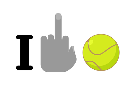 hatred: I hate tennis. Fuck symbol of hatred and ball. Logo for anti fans Illustration