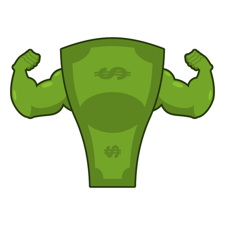 Strong dollar. Powerful cash. Potent money with big muscles. Hands bodybuilding