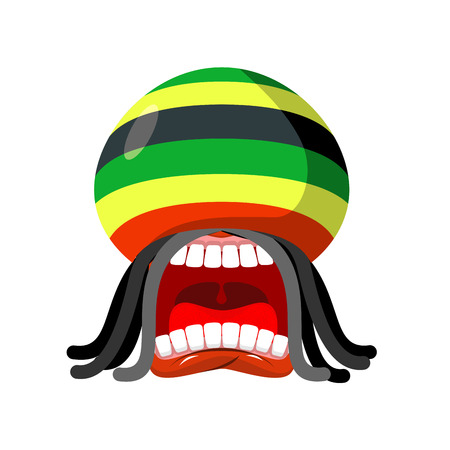 Rastaman screams. Rasta cry. Open your mouth and teeth. Loud scream. Rastafarian hat and dreadlocks. Reggie illustration Иллюстрация