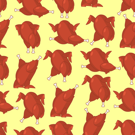 Roasted turkey seamless pattern. fowl in different poses ornament. Baked chicken texture. Background for Thanksgiving Day Illustration