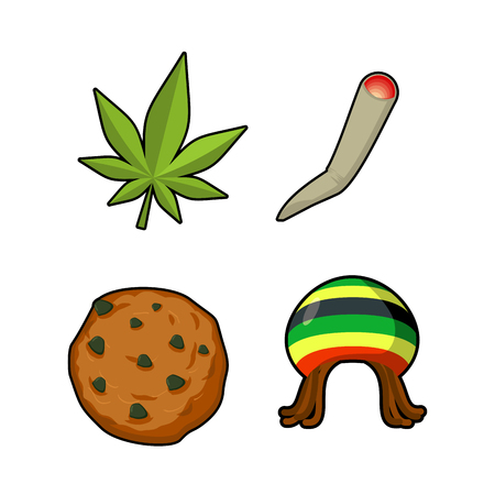 Rasta icons set. Green leaf of marijuana and cookie. Rastafarian hat and joint or spliff. Reggie signs. Jamaican objects. Rastaman symbol Illustration