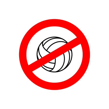 forbid: Stop volleyball. Prohibited team game. Red prohibition sign. Crossed-gaming ball. Ban symbol