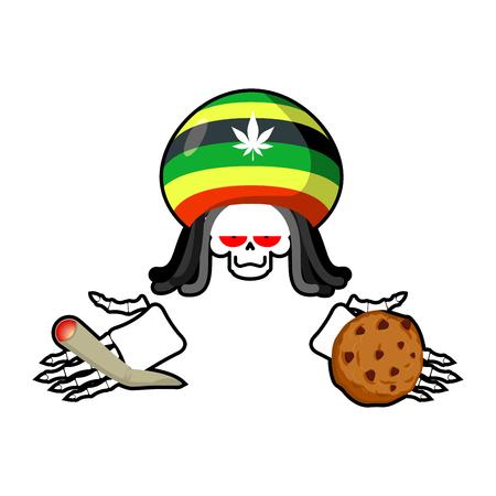 Rasta death offers cookies and joint or spliff. Rastafarian dreadlocks skull and beret. Grim Reaper for Rastafarians. Jamaican demon holding biscuit and marijuana and smoking drugs. ganja skeleton