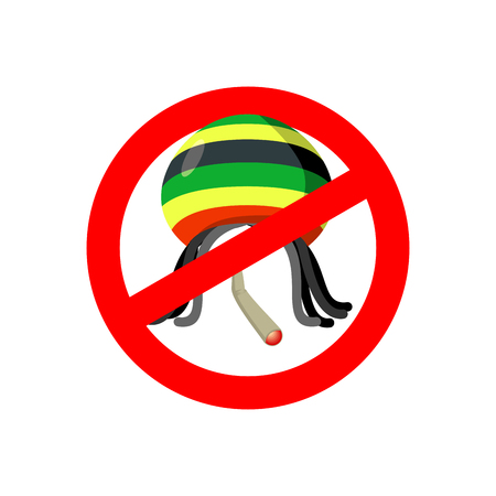 Stop Rastaman. Prohibited Stoned drug man. Dangers red sign rasta hat and joint or spliff. Crossed-marijuana drug. Ban reggae Rastafarian