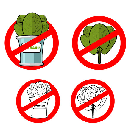 greens: Stop spinach. Prohibited green leaf lettuce. Red prohibition sign. Crossed-fresh greens. Ban vegetarianism. Anti vegan