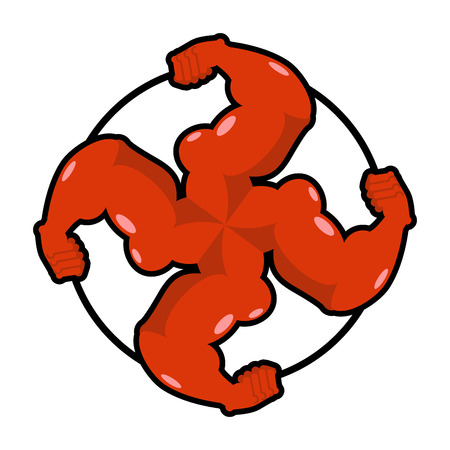 radicals: Logo for aggressive fighters. Hands bodybuilder. Sign for invasive radicals. Symbol for hooligans sports fraternity. Strong swastika