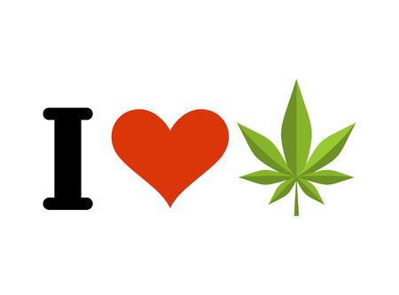 I love drugs. Heart and marijuana leaf. Emblem for fans to smoke weed