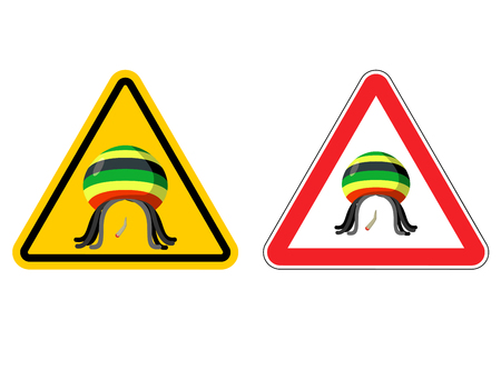 yellow beware: Warning sign Rastaman. Attention Stoned drug man. Dangers yellow sign rasta hat and joint or spliff. Marijuana drug on red triangle. Set of road signs