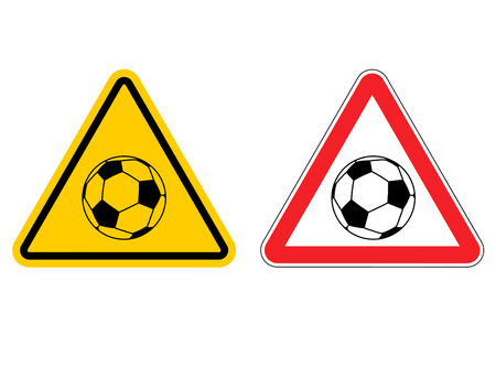 Warning sign football attention. Dangers yellow sign game. Soccer ball on red triangle. Set of road signs Illustration