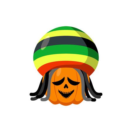 rasta hat: Rasta Halloween. Rastaman hat and dreadlocks. Pumpkin for Rastafarians. Symbol terrible holiday in Jamaican style