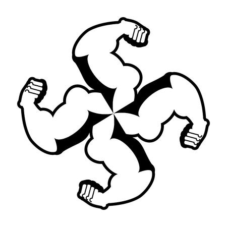 Strong swastika. Logo for aggressive fighters. Hands bodybuilder. Sign for invasive radicals. Symbol for hooligans sports fraternity. Illustration