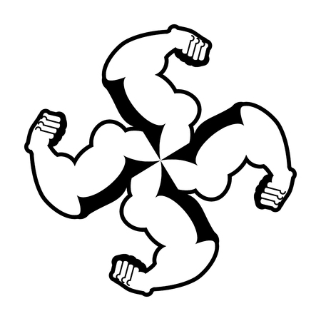 swastika: Strong swastika. Logo for aggressive fighters. Hands bodybuilder. Sign for invasive radicals. Symbol for hooligans sports fraternity. Illustration
