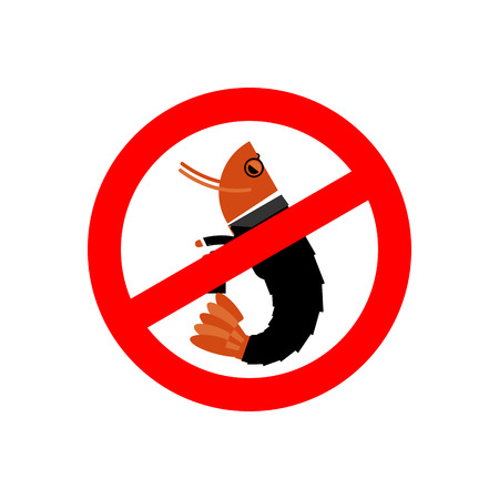 plankton: Stop office plankton. Prohibited shrimp in suit. Red prohibition sign. Crossed sea animal. Ban manager, office clerk