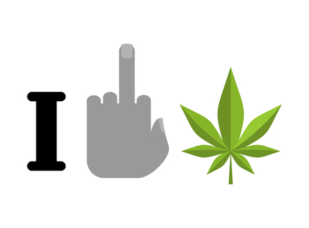I hate drugs. Fuck symbol of hatred and marijuana leaf. Logo healthy lifestyle