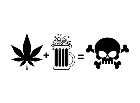 life and death: Alcohol and drugs is death. Mug of beer and marijuana leaf is equal to skull and crossbones, symbol end of life