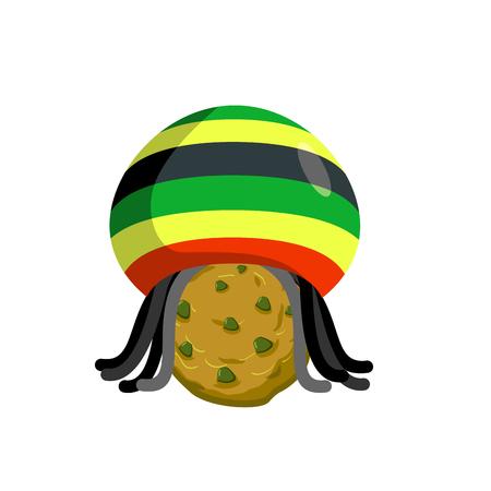 Rasta cookies. Rastafarian hat and dreadlocks and biscuit. Reggie food. drug sweets. Jamaican Sweets. Rastafarians treat