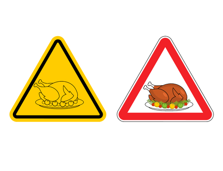 Warning sign of attention roasted turkey. Dangers yellow sign crustacean. Baked chicken with  red triangle. Set of road signs for Thanksgiving Day