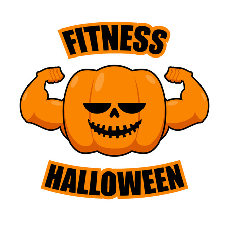 Fitness Halloween. Pumpkin with muscles. Vegetable with large hands. Powerful Fruit bodybuilding. Vegetarian athlete. Strong Symbol for terrible holiday 일러스트