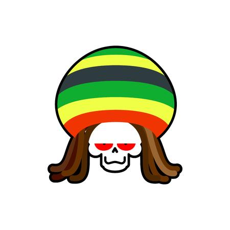 rasta hat: Rasta death. Rastafarian dreadlocks skull and beret. Grim Reaper for rastafarian. ganja skeleton
