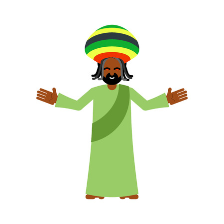 jamaican: God ganja. idol Jah gives rasta. Reggae Rastafarian hat and dreadlocks. Rastaman deity. Jamaican deity brings gifts