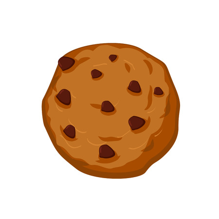 chocolate drops: Cookies with chocolate Drops isolated. Sweets on white background. Oat cookie