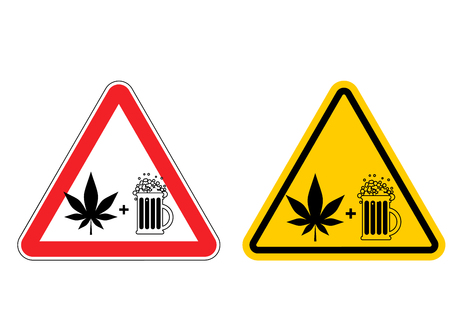 Warning sign attention alcohol and drugs. Dangers yellow sign. Marijuana is drug and mug of beer on red triangle. Set of road signs Illustration