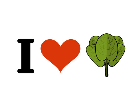 greens: I love spinach. Heart and green leaf lettuce. Fresh greens Illustration