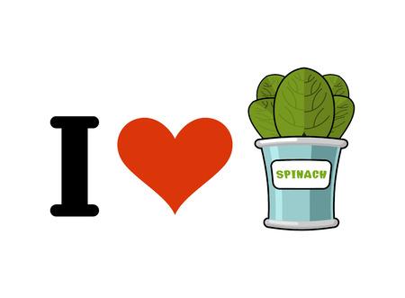 I love spinach. Heart and green leaf lettuce. Tinned greens in tin Ilustração Vetorial