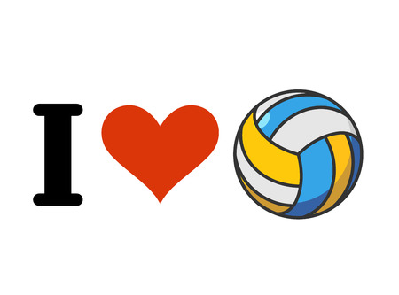 I love volleyball. Heart and ball. Emblem for sports fans Illustration
