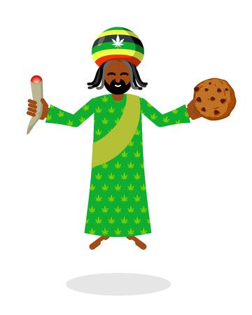 God ganja. idol Jah gives  rasta cookies and joint or spliff. Reggae Rastafarian hat and dreadlocks. Rastaman deity. Jamaican deity brings gifts