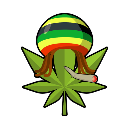 freaky: Leaf marijuana and reggae cap with dreadlocks. Green leaf cannabis smoking joint or spliff. Freaky emblem. Rastafarians symbol. rastaman sign