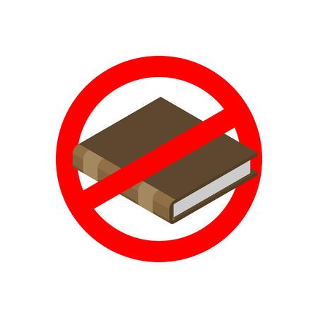 Prohibir la educación. Parar leer. Está prohibido matrícula. señal de prohibición rojo. Cruzar-libro.