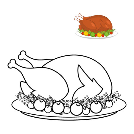Roast turkey for Thanksgiving coloring book. fowl on plate in linear style. fry wildfowl with apples and cranberries. Traditional festive meal. Symbol Historic national holiday