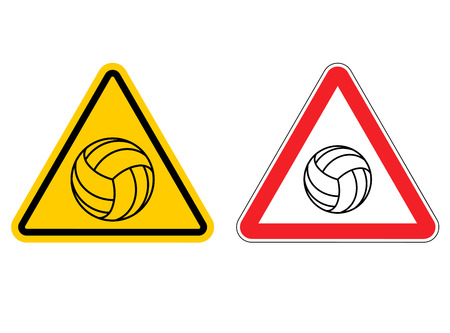Warning sign volleyball attention. Dangers yellow sign game. Ball is on red triangle. Set of road signs