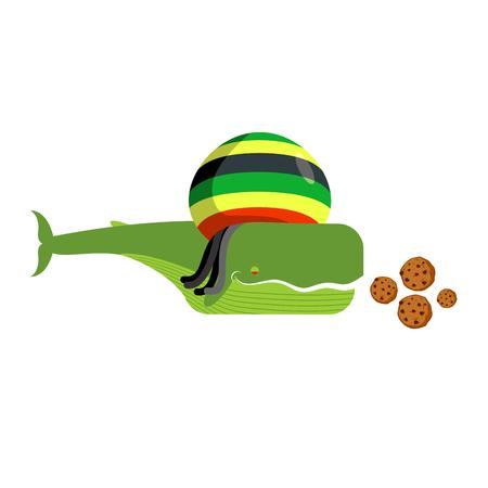 rasta hat: Rasta whale and cookies. Large marine animals in Rastafarian hat. Long black dreadlocks. Stoned drug blower. jamaica beast