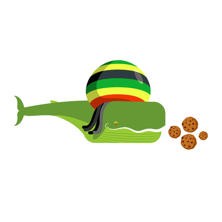 Rasta whale and cookies. Large marine animals in Rastafarian hat. Long black dreadlocks. Stoned drug blower. jamaica beast