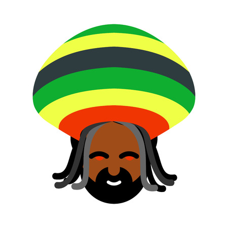 red eyes: Rastaman avatar. Rasta cap and dreadlocks. Sign rastafarianin. Jamaican reggae. Red eyes from cannabis Illustration