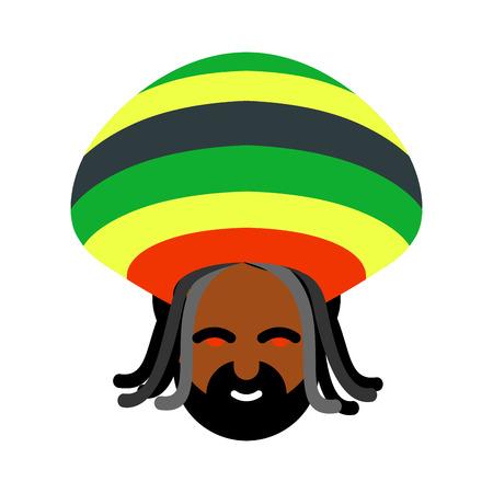 jamaican: Rastaman avatar. Rasta cap and dreadlocks. Sign rastafarianin. Jamaican reggae. Red eyes from cannabis Illustration