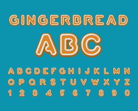 baked: Gingerbread ABC. Christmas cookie Alphabet . Mint Cookies font. Baked letters. Edible typography. Food lettering