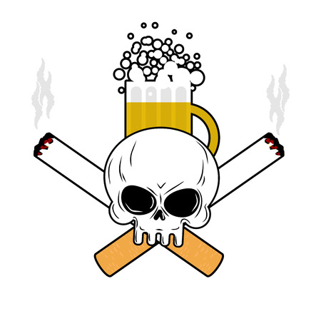 Skull and beer and crossbones cigarettes. Smoking and Alcohol leads to an emblem of death. Logo for disastrous way of life Illustration