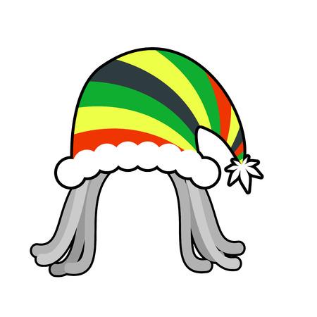 Rasta cap for Santa Claus. Rastaman dreadlocks festive hat. Reggae style hood for holiday Illustration