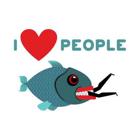 murderer: I love people. predator fish eats man. Wild sea Shark and male. I like to eat people. Heart and marine animals Illustration