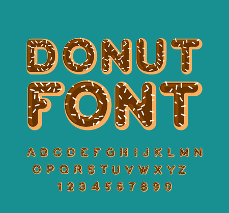 sprinkling: Donut font. pie alphabet. Baked in oil letters. Chocolate icing and sprinkling. Edible typography. Food lettering. Doughnut ABC Illustration