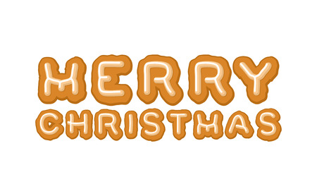 homemade bread: Merry Christmas gingerbread typography. Logo lettering cookies for holiday