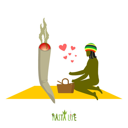 rasta hat: Rasta life. Rastaman and joint or spliff in picnic. Man and smoking drug in nature. Marijuana lovers and basket with food. Romantic illustration hemp
