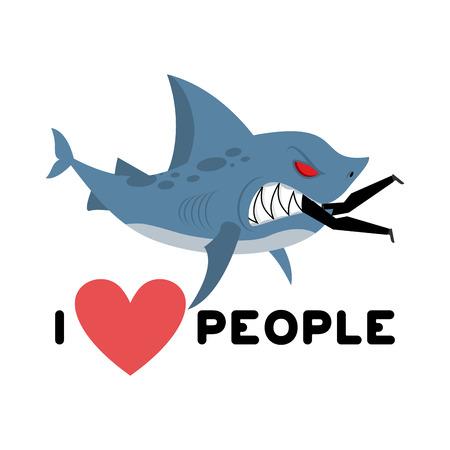 I love people. Shark eats man. Wild sea predator and male. I like to eat people. Heart and marine animals