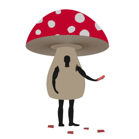 promoter: Mushroom man mascot promoter. Male in suit amanita distributes flyers. Puppets fungus engaged in advertising goods