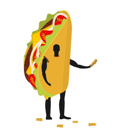 ground beef: Taco man mascot promoter. Male in costume fried tortilla distributes flyers. Puppets Mexican food engaged in advertising goods